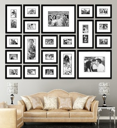 Elegant Arts and Frames Black Synthetic 77 x 1 x 54 Inch Group 20 Wall Collage Photo Frame at pepperfry