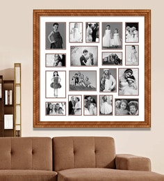 elegant arts and frames brown wooden 34 x 1 x 34 inch 18 pocket family collage