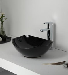 Elvera Art Table Top Wash Basin, Black Glossy Finish