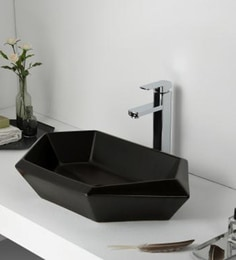 Elvera Art Table Top Wash Basin, Matt Black Finish - 1720012