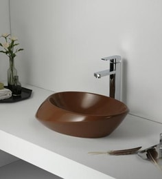 Elvera Art Table Top Wash Basin, Matt Brown Finish - 1720009