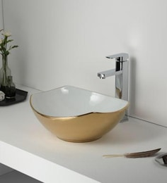Elvera Art Table Top Wash Basin, White & Gold Finish