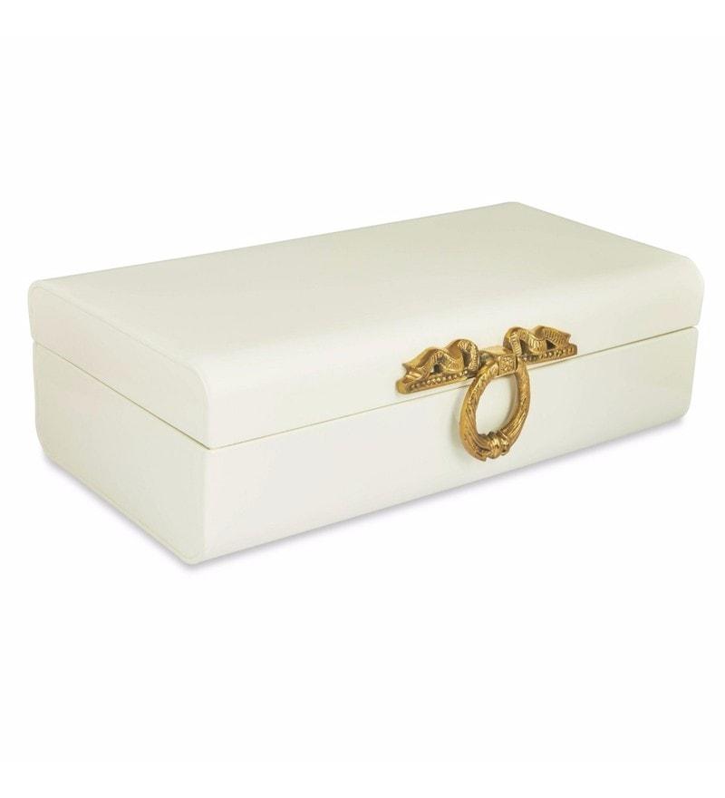 Elan Long Vintage Style Powder Coated Steel Off White Ornate Brass Ribbon Lock Storage Trunk
