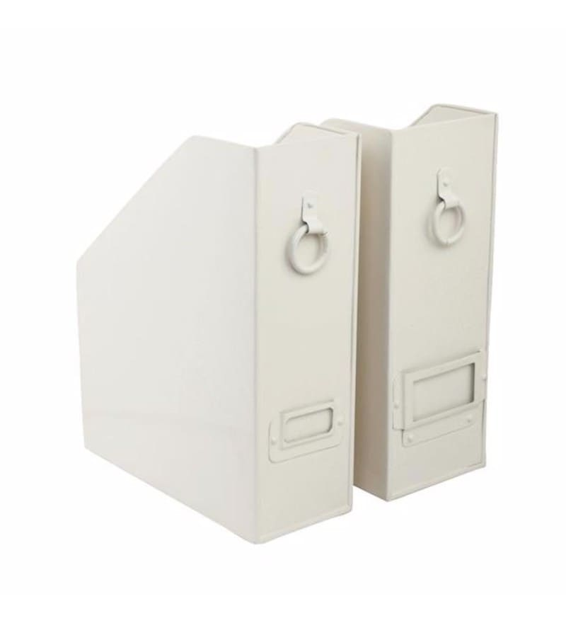 Elan Powder Coated Steel Off White Method File & Magazine Holders - Set of 2