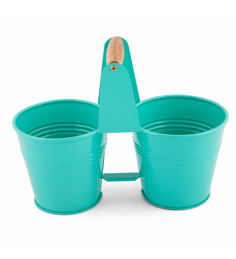 Elan Two Bucket Garden Caddy Powder Coated Steel Aqua Stationery Organiser