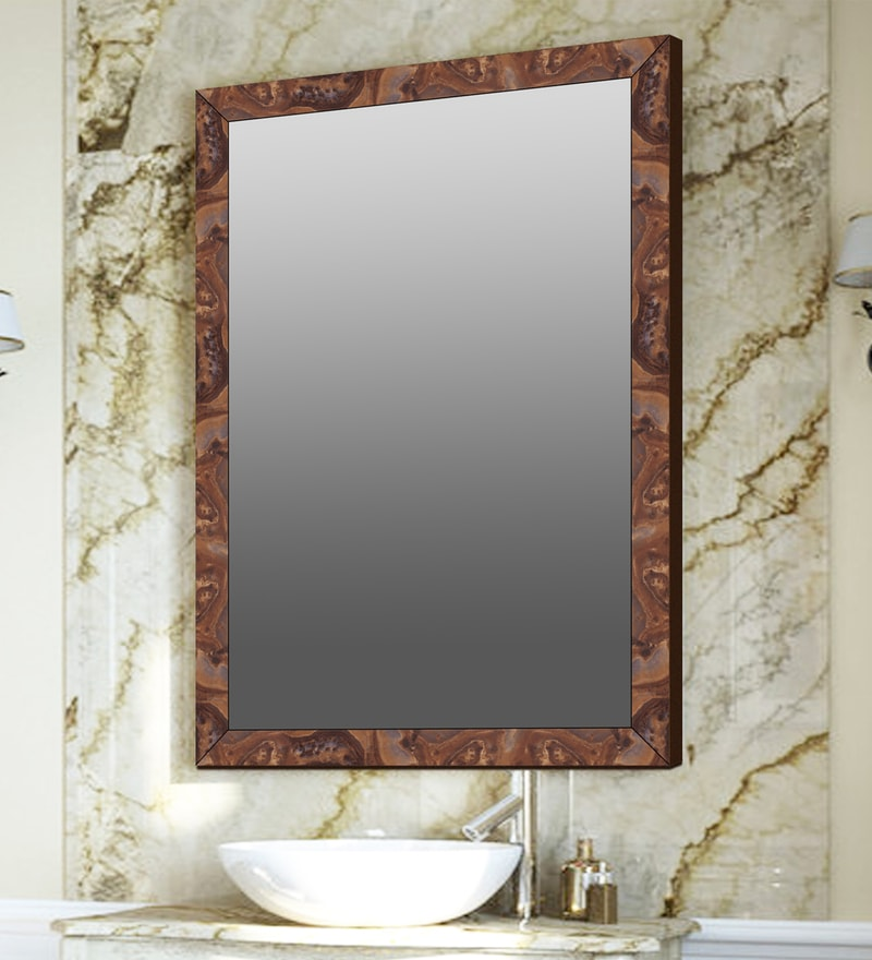 Elegant Arts & Frames Brown Synthetic Bathroom Mirror