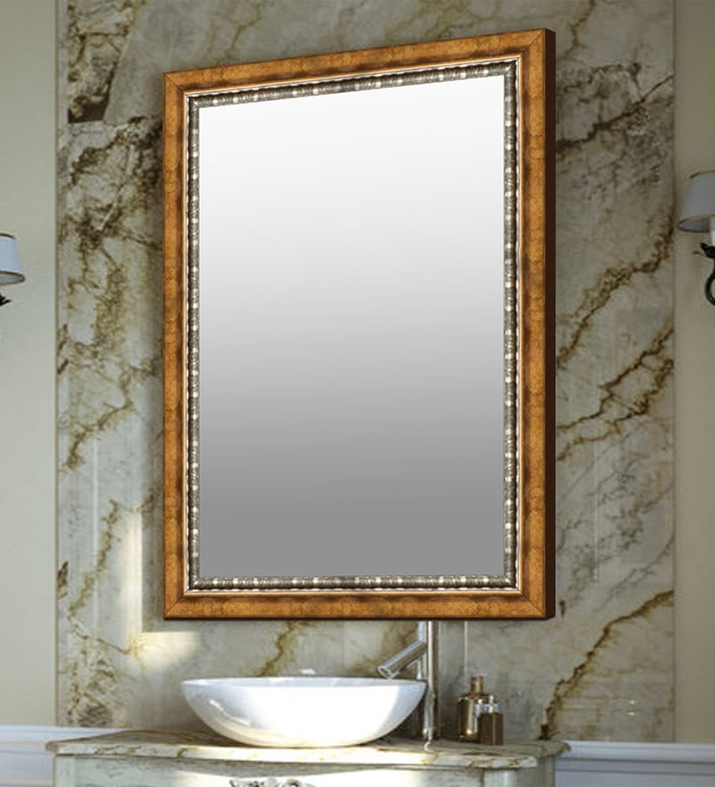 Elegant Arts & Frames Golden Synthetic Bathroom Mirror