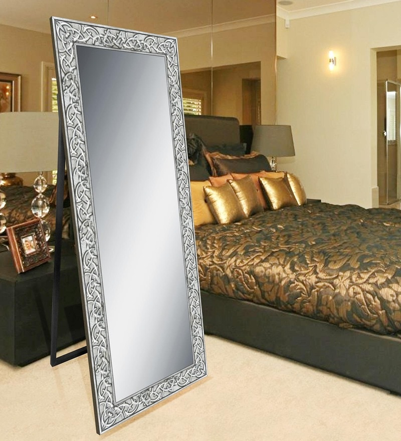 Silver Wooden Decorative Synthetic Full Length Dressing Mirror by Elegant Arts & Frames