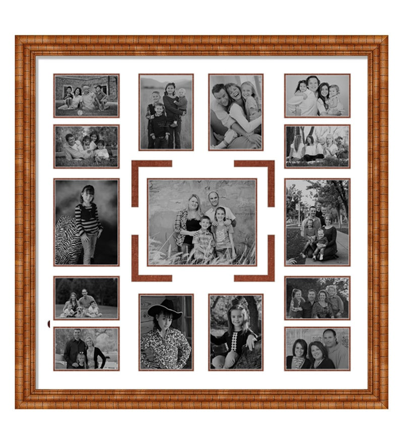 Buy Brown Wooden 34 x 1 x 34 Inch 15 Pocket Family Collage Photo ...