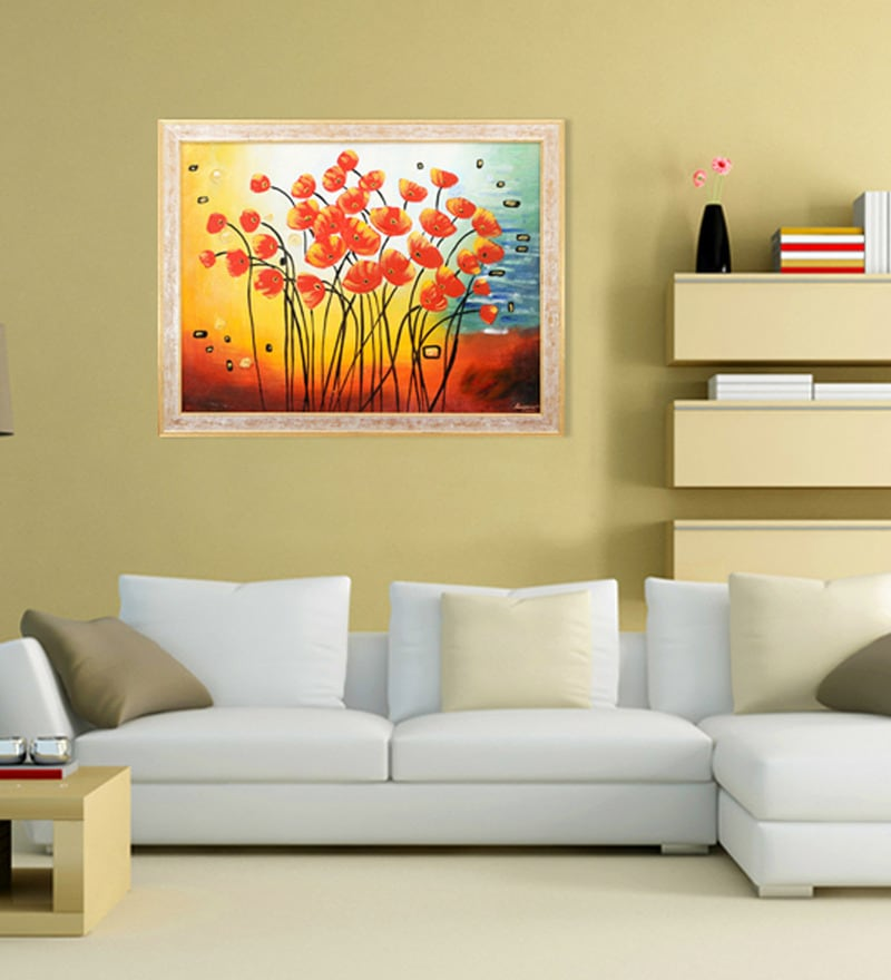 Canvas & Wood 33.5 x 1 x 25.5 Inch Red Tulips Framed Original Oil painting by Elegant Arts and Frames