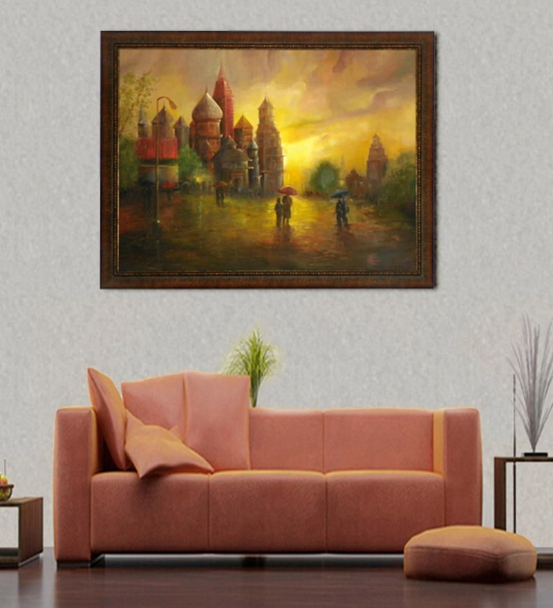 Canvas & Wood 54 x 1 x 42 Inch House of Prayer Framed Original Oil painting by Elegant Arts and Frames