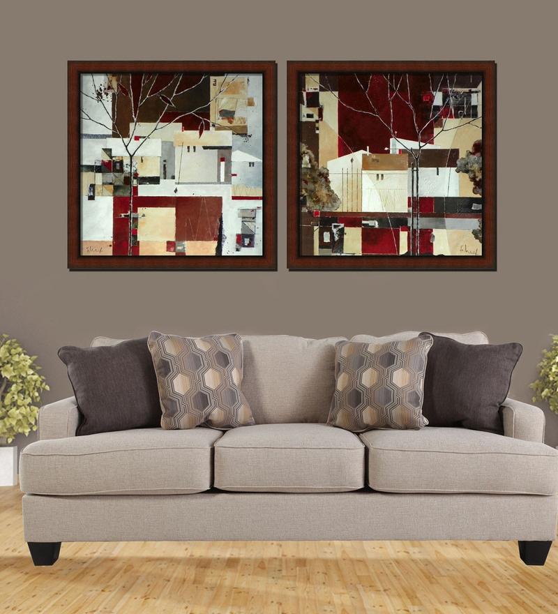 Premium Digital Paper 32 x 1 x 32 Inch Framed Art Panels - Set of 2 by Elegant Arts and Frames