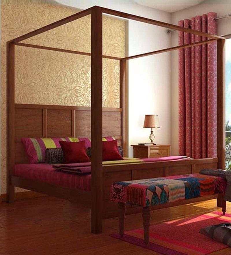 Elkhorn King Size Poster Bed In Honey Oak Finish by Woodsworth