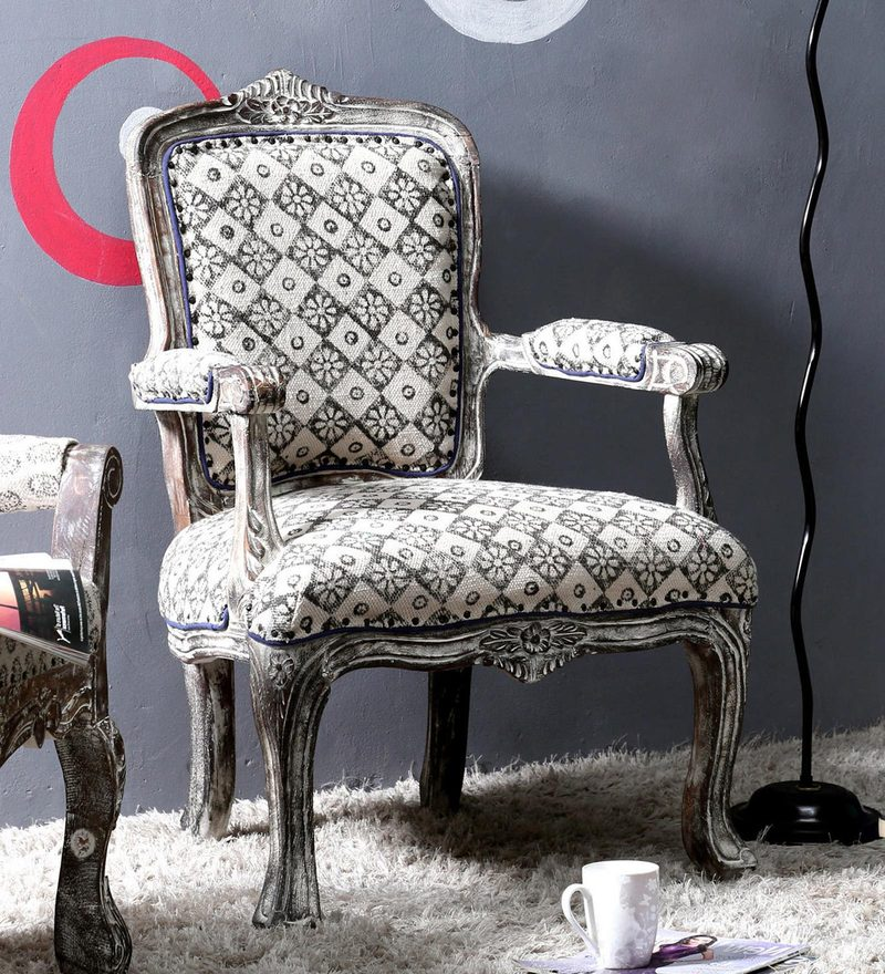 Buy Elton Arm Chair In Grey Distress Finish By Bohemiana Online   Arm Chairs    Arm Chairs   Furniture   Pepperfry Product