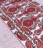 Elegance Summer Cool Maroon & White Cotton Indian Ethnic 98 x 87 Inch Bed Sheet Set