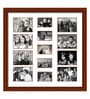 Brown Wooden 34 x 1 x 34 Inch 13 Pocket Family Collage Photo Frame by Elegant Arts and Frames