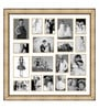 Elegant Arts and Frames Gold Wooden 34 x 1 x 34 Inch 18 Pocket Ornamental Family Collage Photo Frame