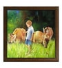 Canvas & Wood 42 x 1 x 42 Inch Boy with Cows In A Field Framed Original Oil painting by Elegant Arts and Frames