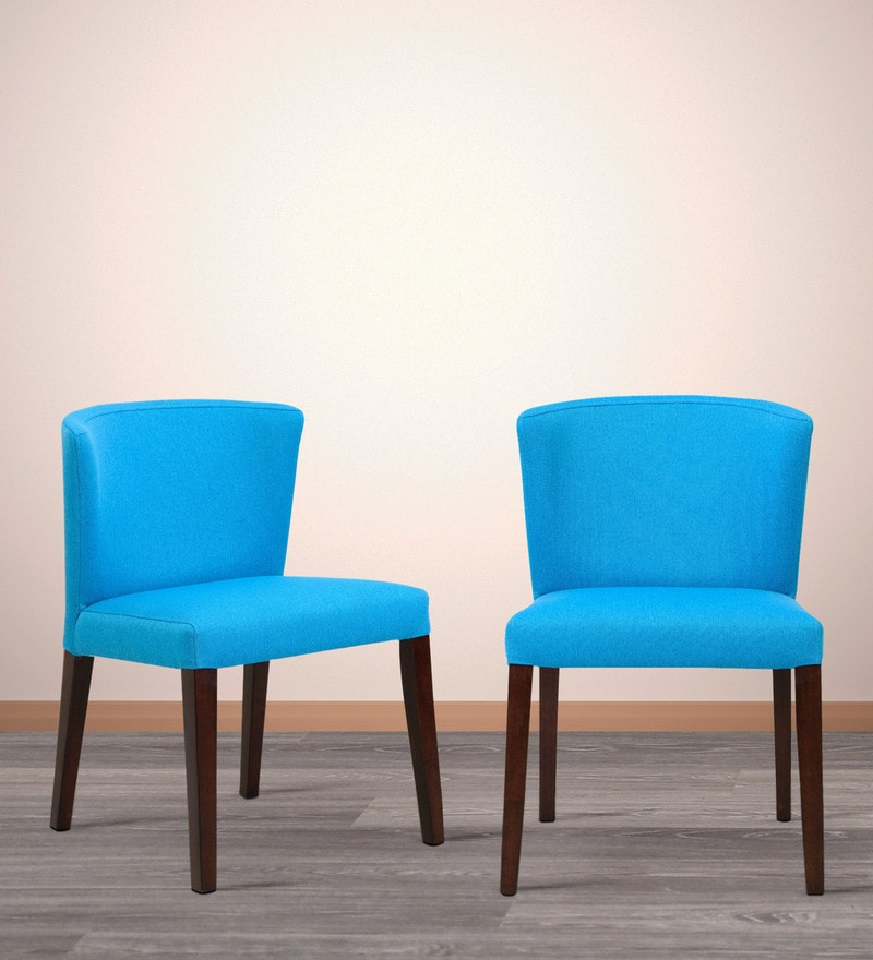 Emilio Dining Chair (Set of 2) in Cerulean Blue Color by CasaCraft