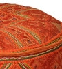 Embroidered Pouffe in Orange Colour by The Yellow Door