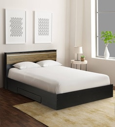 69127e07d9e2 Enri King Size Bed with Side Drawer and Box Storage in Wenge Finish ...