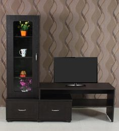 Entertainment Unit With Display Case In Wenge Finish