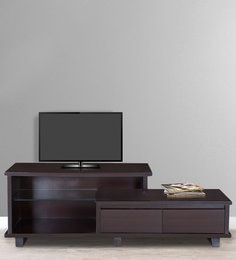 Entertainment Unit With Glass Shelf In Dark Brown Colour By Karigar
