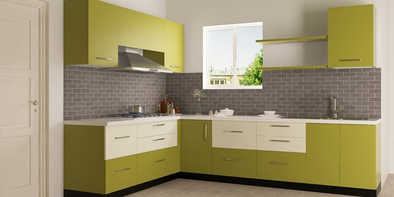 Enzo L Shaped Modular Kitchen Designed In BWR Ply With Ivory U0026 Olive  Membrane