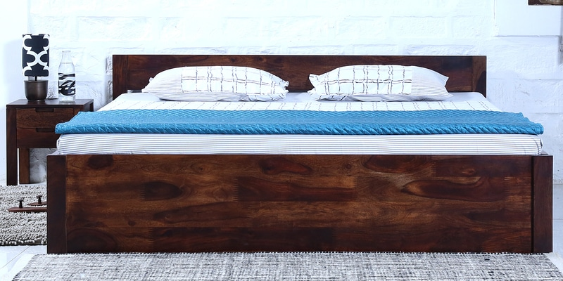 Enkel Solidwood Queen Bed with Box Storage in Provincial Teak Finish by Woodsworth