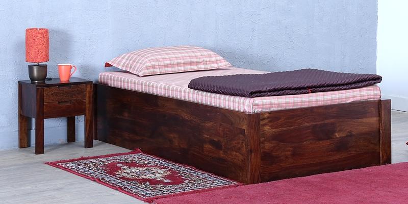 Buy Enkel Solidwood Single Bed With Box Storage In