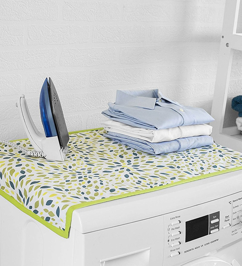 Encasa Homes Washing Machine Top Leaf Cotton Padded Ironing Mat