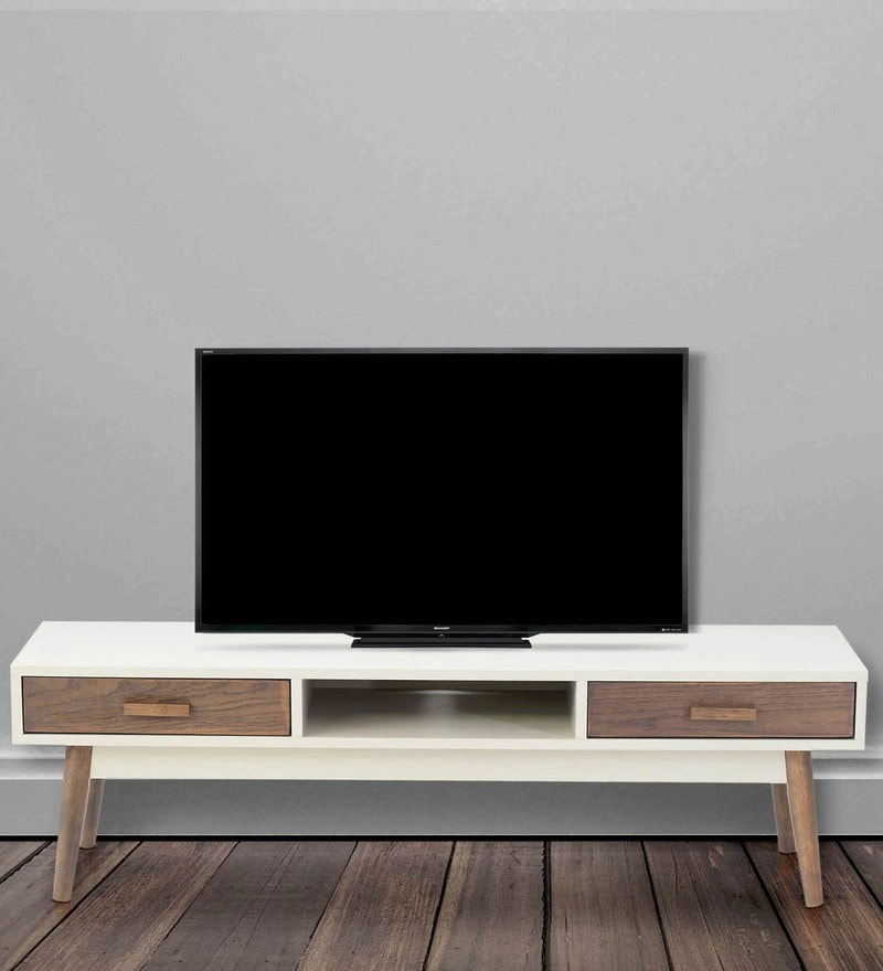 Entertainment Unit in Walnut & White Finish By Marco