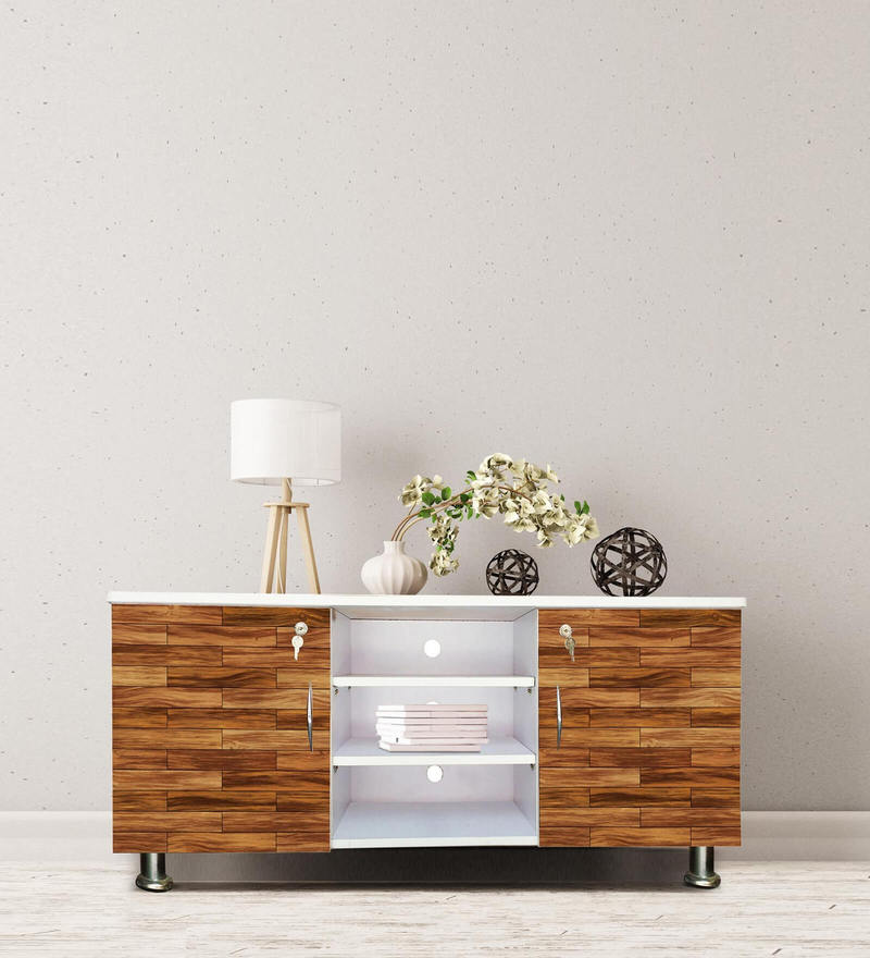 Entertainment Unit in Wooden Brown Blocks by BigSmile Furniture