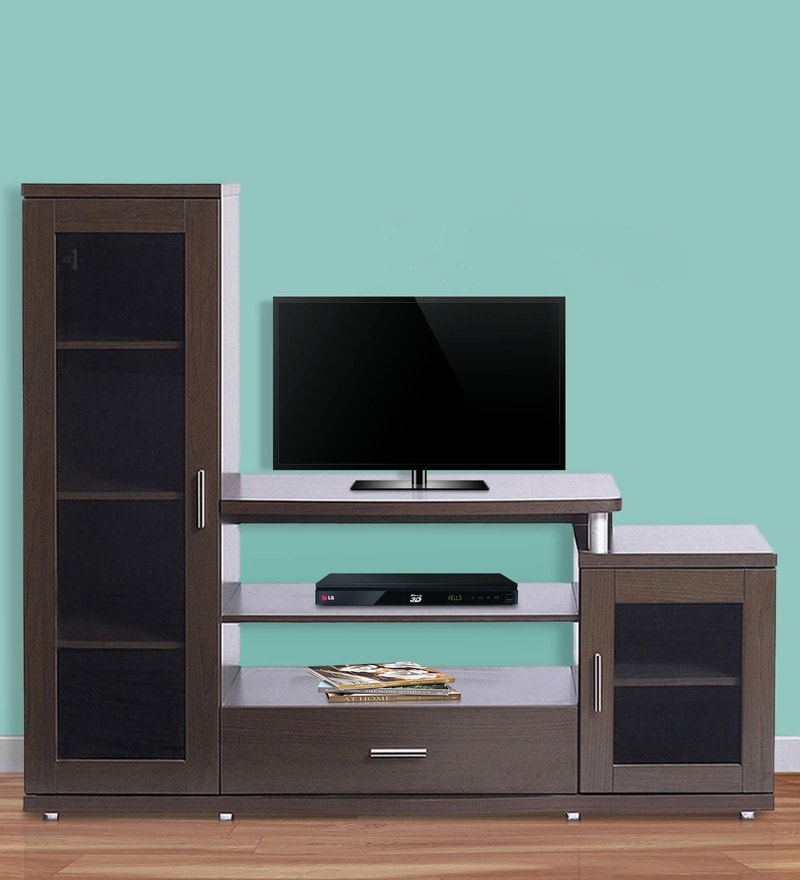 Buy Flute Wall Entertainment Unit in White & Brown Finish by Godrej ...