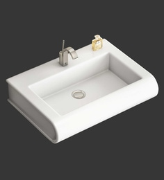 Eros Wall Hung White Ceramic Wash Basin (Model: Ellips-WB)