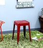 Erco Iron Stool in Red Color by Bohemiana