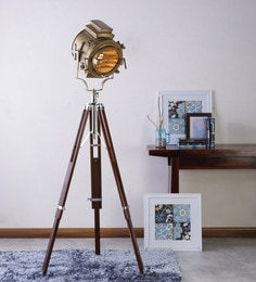 Ethnic Roots Sheesham Wood And Brass Finish Tripod Floor Lamp at pepperfry