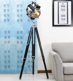 Ethnic Roots Nickel Finish Tripod Black Floor Lamp Ethnic Roots at pepperfry