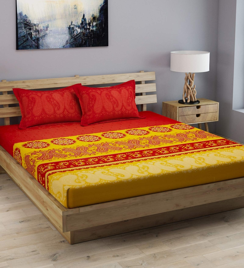 006745780d49 Ethnic Motif Pattern 210 TC Cotton King Size Bed Sheet with 2 Pillow Covers  by ROMEE