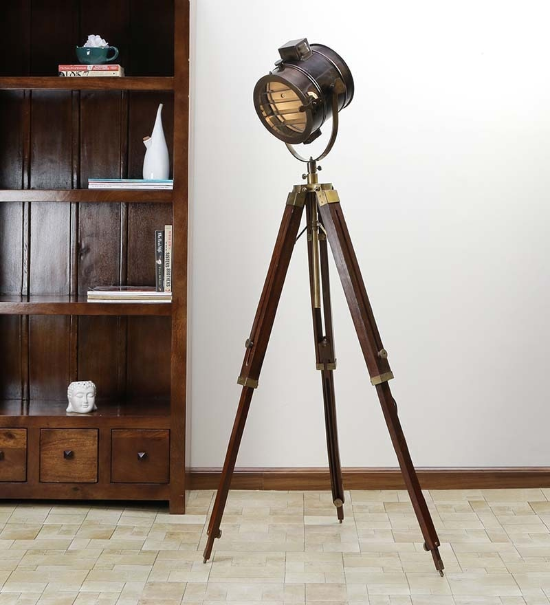 Antique Brown Sheesham Wood Tripod Floor Lamp by Ethnic Roots