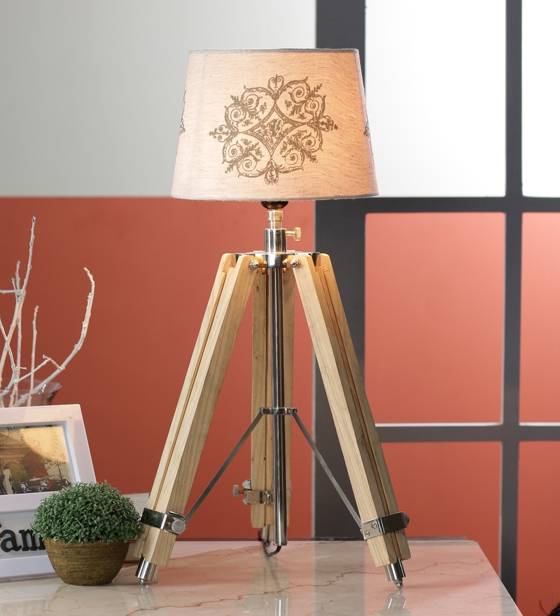 Cream Cotton Table Lamp by Ethnic Roots