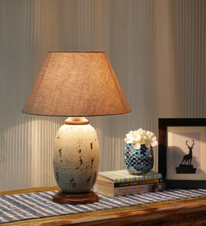 Beige Cotton Table Lamp by Ethnic Roots