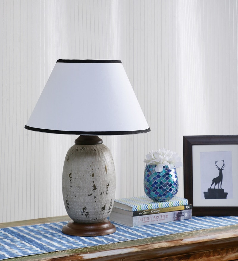 Buy White Cotton Table Lamp By Ethnic Roots Online