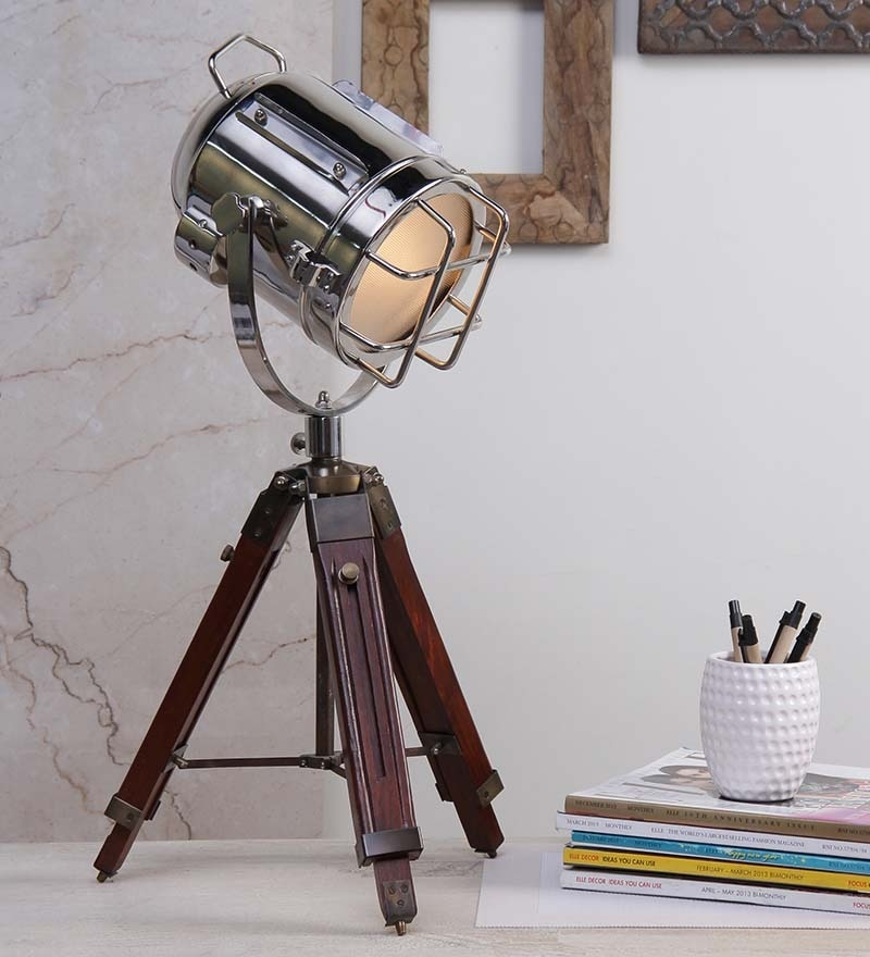 Nickel Finish Tripod Table Lamp by Ethnic Roots