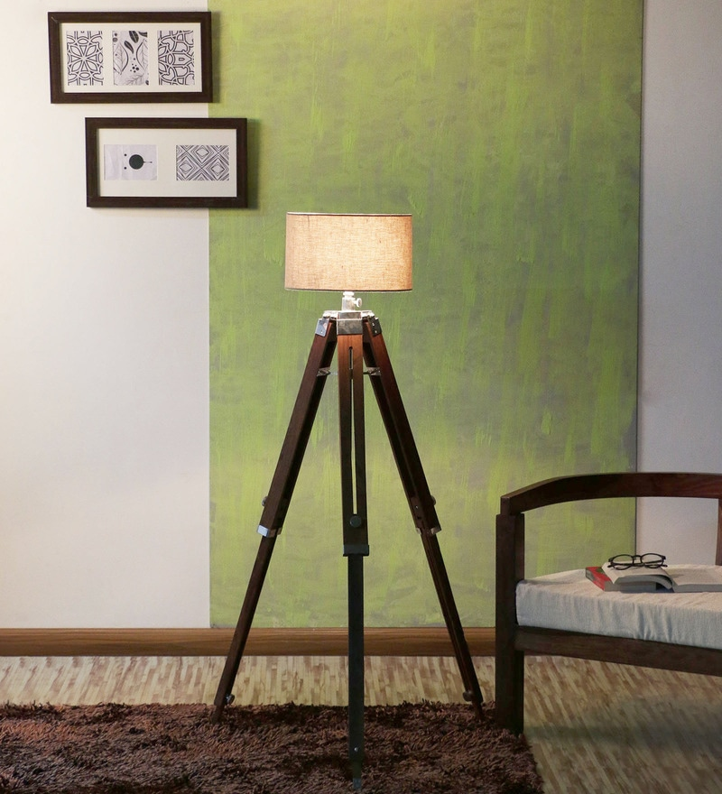 Sheesham Wood And Beige Color Tripod Floor Lamp by Ethnic Roots