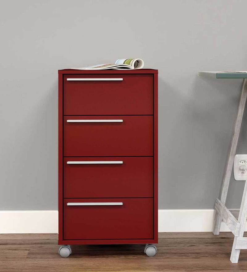 Etsushi Storage Unit with Four Drawers & Swivel Castors in Burgandy Colour by Mintwud