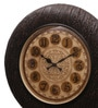 Brown MDF & Metal 12 Inch Round Wall Clock by Ethnic Clock Makers