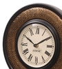 Ethnic Clock Makers Brown MDF & Metal 10 Inch Round Brass Fit Handmade Wall Clock