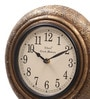 Brown MDF & Metal 10 Inch Round Brass Flower Fit Handmade Wall Clock by Ethnic Clock Makers