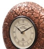 Brown MDF & Metal 10 Inch Round Copper Stone Handmade Wall Clock by Ethnic Clock Makers